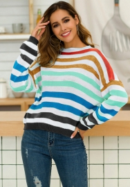Women Fashion Contrast Color Colorful Loose Long Sleeve Tops