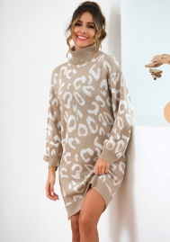 Women Fashion Dog Dot Long Sleeve Sweaters High Neck Mini Dress