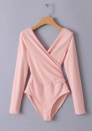 Women Fashion Solid Color Long Sleeve Cross V Neck Teddies Lingerie