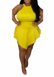 Women Sexy Irregular Plus Size Halter Back Zipper Mini Dress