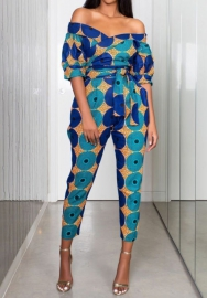 Women Fashon Off Shoulder Short Sleeve Print Africa Styles Jumpsuit with Waist Tie