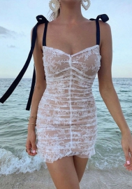 Women Fashion Lace Tube Double Shoulder Bow Tie Mini Dress