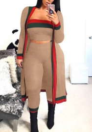 Women Fashion Striped Tube Tops&Long Pants and Long Sleeve Coat 3 Pieces Suit