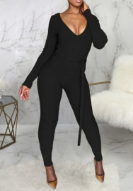 Women Fashion V Neck Cotton Long Sleeve Jumpsuit with Waist Tie