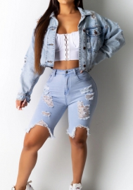 Women Fashion Ripped Front Button Jeans Jackets