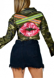 Women Fashion Camouflage Front Button Back Big Mouth + Reflective Stripe Blazer