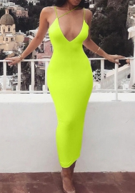 Women Fashion Solid Color Irregular Strap Midi Dress