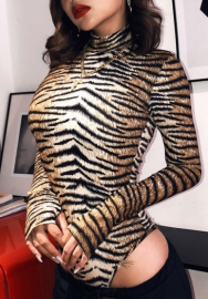 Women Fashion Leopard Print High Neck Long Sleeve Bodysuit