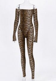 Women Sexy Off Shoulder Leopard Print Long Sleeve Bodycon Jumpsuit
