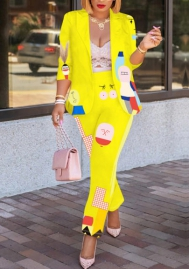 Women Fashoion Print Cartoon Long Sleeve Suit and Long Pants 2 Piece Suit