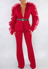 (Not Waist Tie)Women Fashion Mesh Ruffle Long Sleeve Suit and Long Pants 2 Piece Suit