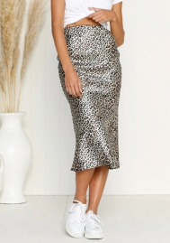 Women Sexy England Leopard Print Split Bandage Evening Party Skirt