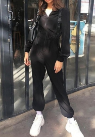 Women Outfit-Casual Button Shirt Jumpsuit Women Tapered Jumpsuits Mid Waist Belted Tooling Jumpsuit
