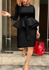 Women Fashion Round Neck Bottom Ruffle Long Sleeve Tops and Midi Skirt 2 Piece Suit