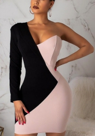 Women Sexy Pink&White Contrast Color Single Shoudler Long Sleeve Tube Club OL Dress