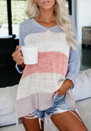 Women Fashion Contrast Color Loose Long Sleeve Sweater Tops