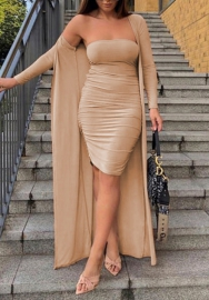 Women Fashion Tube Solid Color Mini Dress with Long Sleeve Open Coat 2 Piece Suit