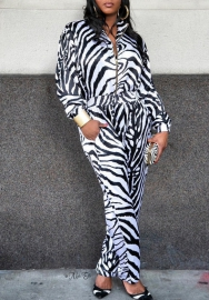 Women Fashion Print White Tiger Front Zipper Long Sleeve Jumpsuit