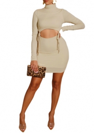 Women Fashion Solid Color High Neck Corp Tops and Mini Skirt 2 Piece Suit