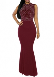 Women Fashion Front Diamond Stone Sleeveless Maxi Dress Evening Dress