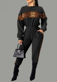 Women Fashion Front  Part of Leopard Sriped Long Sleeve Jacket and Long Pants Tracksuit Suit