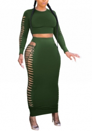Women Sexy Double Size Cut Out Crop Tops and Maxi Skirts 2 Piece Suit