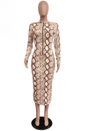 Women Fashion Print Snake Long Sleeve Slim Maxi Dress