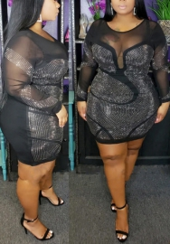 Women Sexy Plus Size Diamond Stone Mesh See Through Long Sleeve Mini Dress