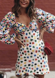 Women Fashon Colorful Dot Loose Sleeve Mini Dress