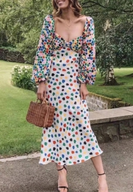 Women Fashon Colorful Dot Loose Sleeve Maxi Dress