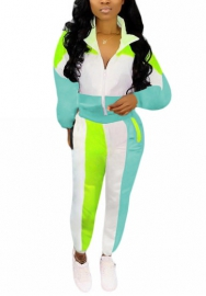 Women Fashion Contrast Color Front Zipper Casual Long Sleeve Tops and Long Pants Tracksuit Suit