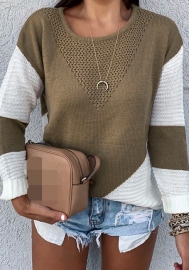 Women Fashion Round Neck Contrast Color Long Sleeve Sweaters Tops