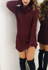Women Fahsion High Neck Long Sleeve Solid Color Casual Mini Dress