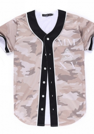 Men/Women Fashion 3D-Print Short Sleeve Front Button Baseball Jacket