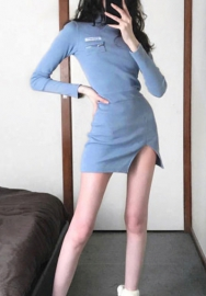 Women Fashion Solid Color High Neck Long Sleeve Bottom Split Mini Dress