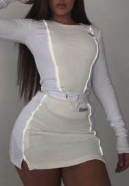 Women Fashion Reflective Stripes Round Neck Long SLeeve Tops and Mini Skirts 2 Piece Suit