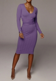 Women Fashion Cotton Solid Color Long Sleeve Deep Round Neck Bodycon Midi Dress