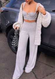 Women Fashion Cotton Strap Crop Tops Tank Tops and Long Pants Tracksuit Suit