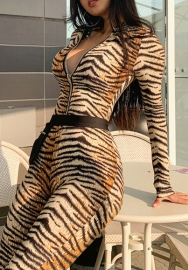Women Fashion Print Tiger Pattern Front Zipper Long Sleeve Bodycon Jumpsuit
