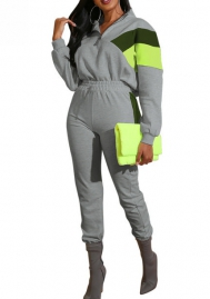 Women Fashion Front Zipper Long Sleeve Tops and Long Pants Tracksuit Suit
