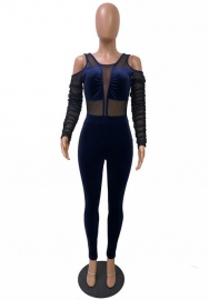 Women Sexy Velvet Cold Shoulder Long Sleeve Bodycon Jumpsuit