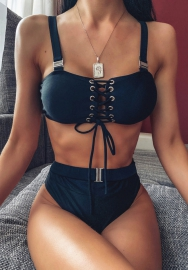 Women Sexy Lace Up Strap Bikini Set