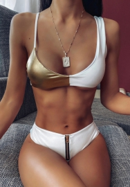 Women Fashion Leather Contrast Color Bikini Set