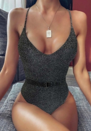 Women Fashion Solid Color One Piece Swimwear