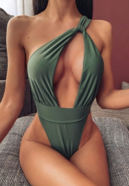 Women Sexy Single Shoulder Bandage One Piece Swimwear