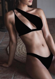 Women Fashion Single Shoulder Cut Out Bikini Set