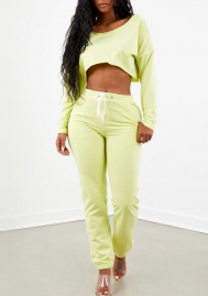 Women Fashion Solid Color Long Sleeve Crop Tops and Long Pants Tracksuit Suit
