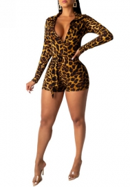 Women Fashion Print Leopard V Neck Long Sleeve Romper with Waist Tie