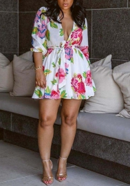 Women Fashion Floral V Neck Hem Mini Dress