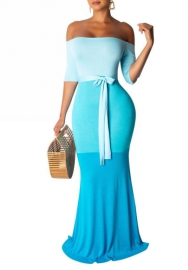 Women Fahion Contrast Color Off Shoulder Maxi Dress Evening Dress with Waist Tie